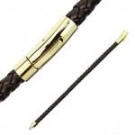 Kožený náramek proplétaný hnědý gold, délka 19 cm [2]