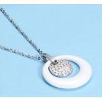 Ocelový náhrdelník s bílým keramickým kolečkem a zirkony [1]