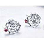 Stříbrné náušnice růže se zirkonem [3]