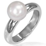 Prsten chirurgická ocel s perlou LRCZ135 [0]