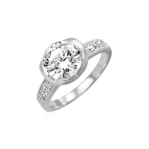 Prsten chirurgická ocel s kamínkem LZRC014