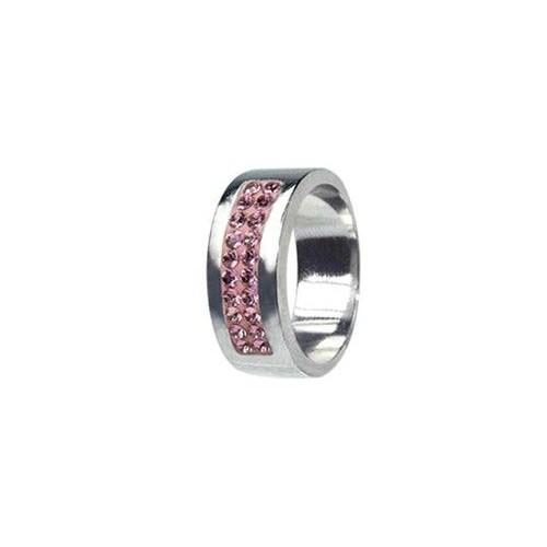Prsten chirurgická ocel s krystaly Swarovski RSSW01 rose