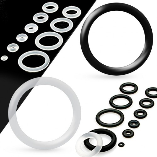 Piercing - náhradní černá gumička na plug (černá, 19 mm)