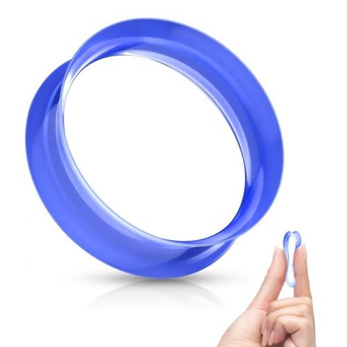 Silikonový tunel do ucha tenkostěnný - modrý (6 mm)