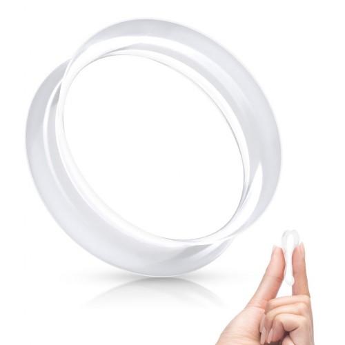 Silikonový tunel do ucha tenkostěnný - čirý (6 mm)
