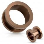 Šroubovací ocelový tunel do ucha hnědý (24 mm) [0]