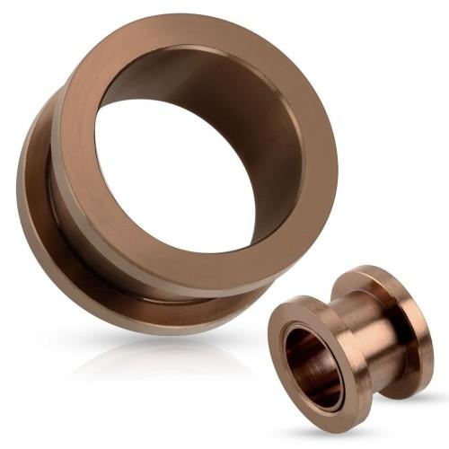 Šroubovací ocelový tunel do ucha hnědý (24 mm)