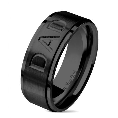"""Černý ocelový prsten """"DAD"""" (62)"""