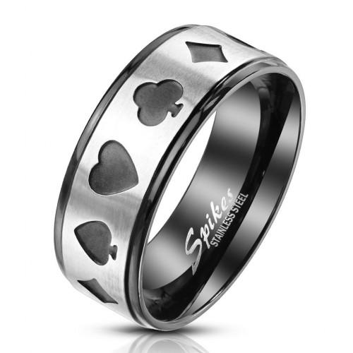 Ocelový prsten karetní motivy (60)