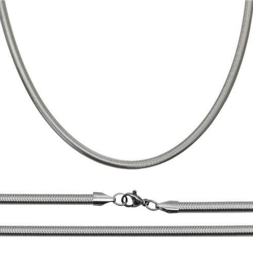 Ocelový řetízek had plochý, š. 4 mm (45 cm, 4 mm)