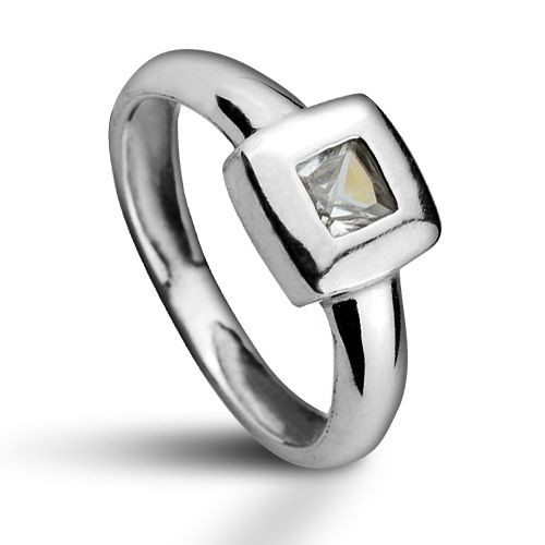 Stříbrný prsten se zirkonem (1,95 g, 54)