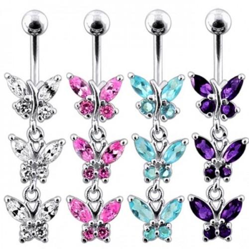 Stříbrný piercing do pupíku s motýlky (fialová)