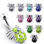 Stříbrný piercing do pupíku - pavouček (fialová) [0]