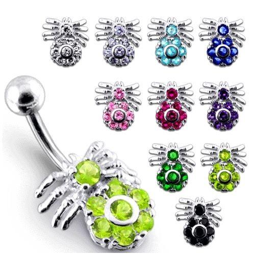 Stříbrný piercing do pupíku - pavouček (fialová)