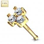 Zlatý piercing do nosu se zirkony, Au 585/1000 (čirá) [1]
