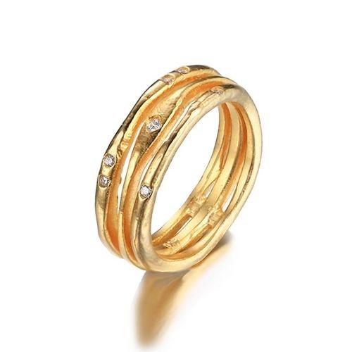 Zlacený stříbrný prsten se zirkony (54)