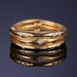 Zlacený stříbrný prsten se zirkony (54) [3]