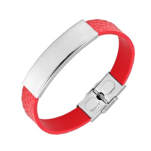 Červený kožený náramek (17 cm, 12 x 40 mm, 10 mm)
