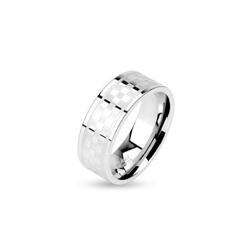 Ocelový prsten - kostkovaný dekor, šíře 6 mm (49)