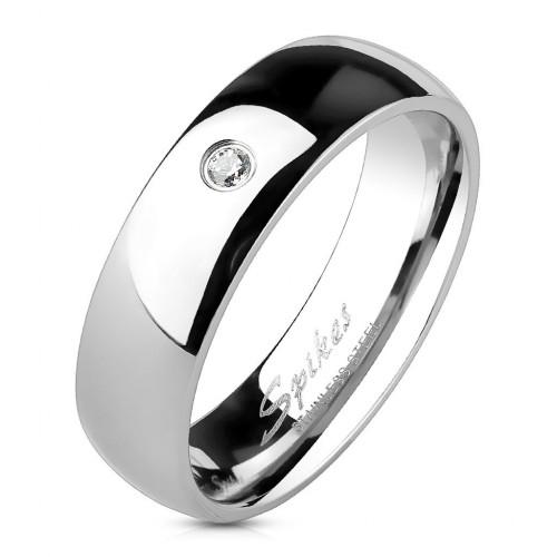 Ocelový prsten se zirkonem, šíře 6 mm (62)