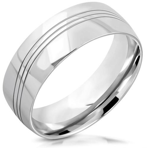 Dámský ocelový snubní prsten, šíře 8 mm (65)