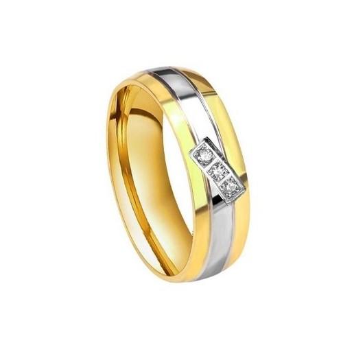 Dámský ocelový prsten se zirkony (52)