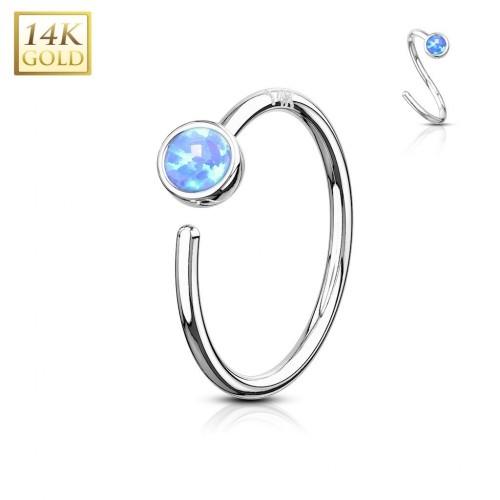 Zlatý piercing - kruh, modrý opál, Au 585/1000