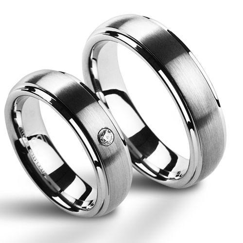 NWF1008-Zr Wolframové snubní prsteny - pár