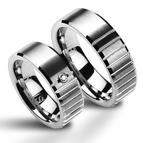 NWF1017-Zr Wolframové snubní prsteny - pár