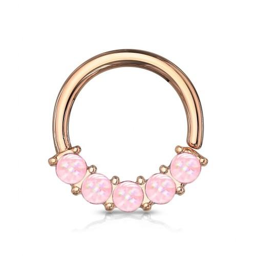 Zlacený piercing kruh s růžovými kameny 1,0 x 10 mm