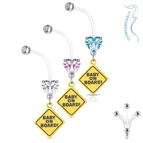 Těhotenský piercing do pupíku - baby on board (růžová, 1,6 x 26 mm)