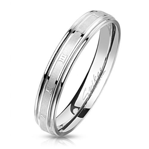 Ocelový prsten s římskými číslicemi, vel. 52