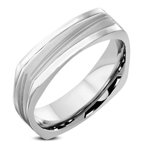 Hranatý ocelový prsten, šíře 3 mm (68)