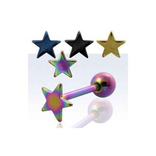 Piercing do jazyku činka anodizovaná hvězda ABBTSAR