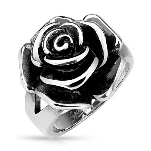 Ocelový prsten růže (50)
