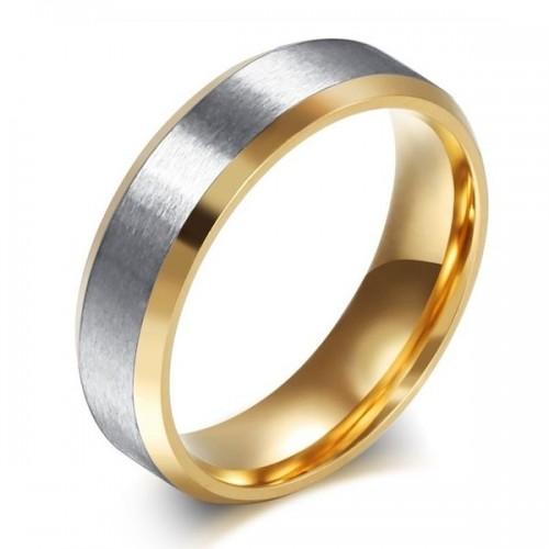 Zlacený ocelový prsten, šíře 6 mm, vel. 67