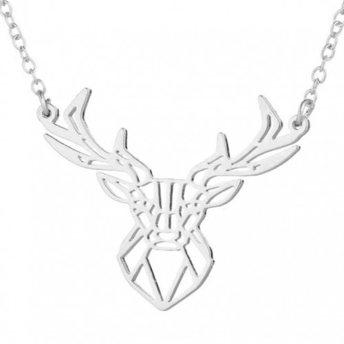 Stříbřený náhrdelník - jelen (50 cm, 25 x 32 mm)