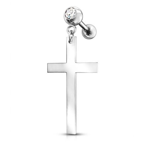 Cartilage piercing do ucha s řetízkem, křížek