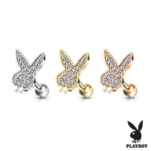 Cartilage piercing do ucha Playboy, čiré zirkony (ocelová, 4 mm, 1,2 x 6 mm)