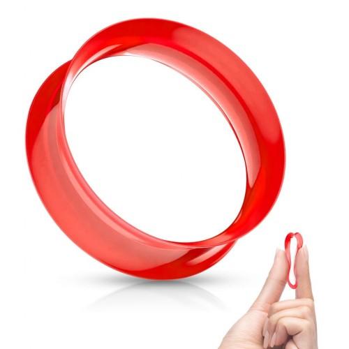 Silikonový tunel do ucha tenkostěnný - červený (4 mm)
