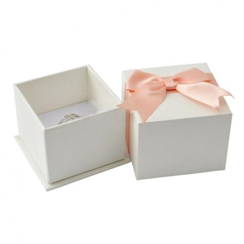 Dárková krabička na prsten/náušnice, bílá s růžovou mašlí