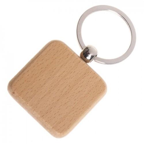 Dřevěný přívěsek na klíče - čtverec zaoblený