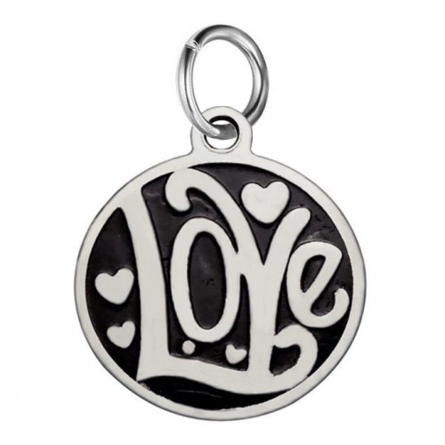 Drobný ocelový přívěsek s kroužkem - Love