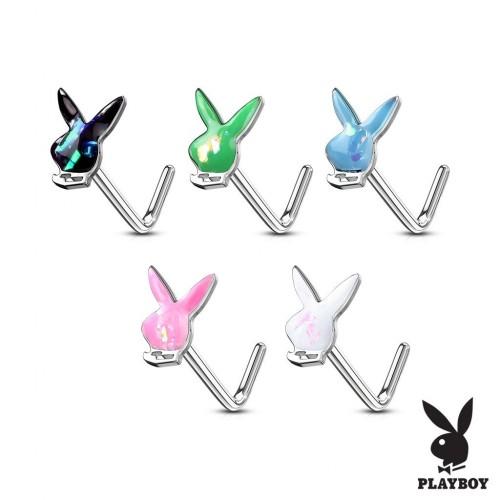 Zahnutý piercing do nosu - Playboy (bílá)