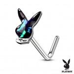 Zahnutý piercing do nosu - Playboy (bílá) [1]