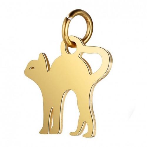 Malý zlacený ocelový přívěsek kočička