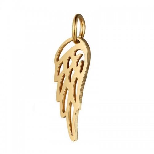 Malý zlacený ocelový přívěsek andělké křídlo