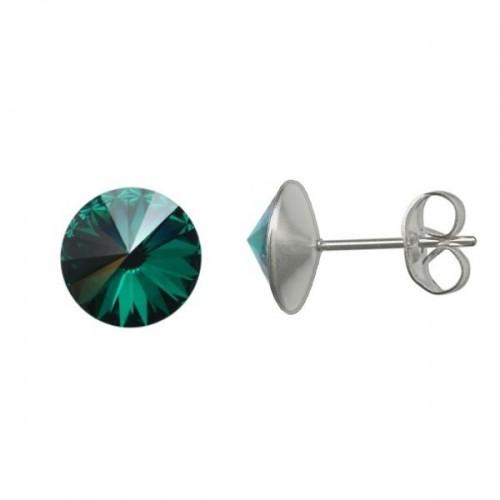 Ocelové náušnice Crystals from Swarovski® 6mm, EMERALD