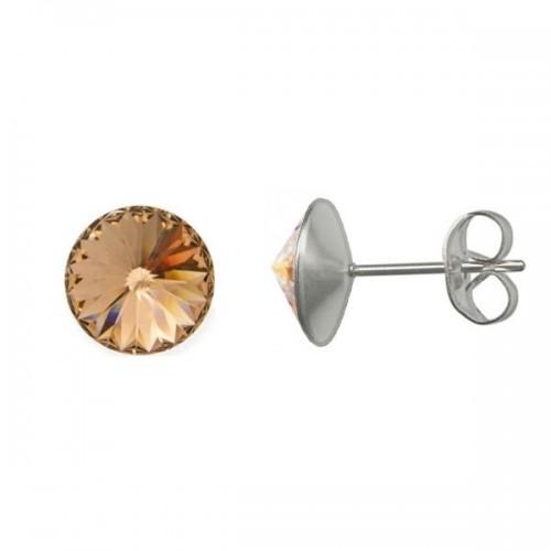 Ocelové náušnice Crystals from Swarovski® 6mm, LIGHT PEACH