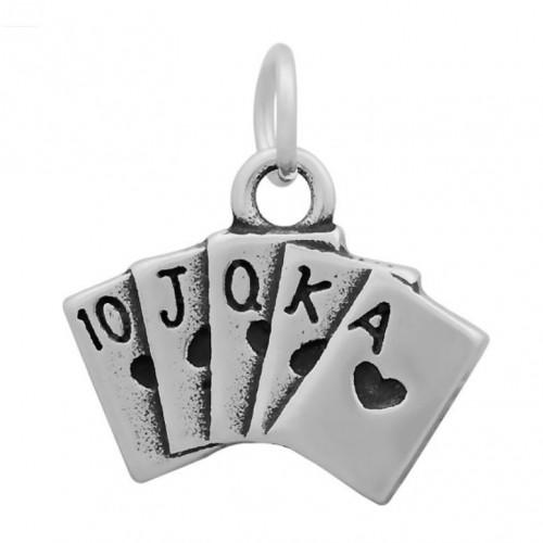 Malý ocelový přívěsek s kroužkem - karty